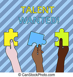 Text sign showing Talent Wanted. Conceptual photo looking for a skill that someone has to do something very well Three Colored Empty Jigsaw Puzzle Pieces Held in Different People Hands.