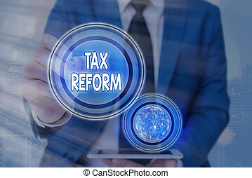 Text sign showing Tax Reform. Conceptual photo government policy about the collection of taxes with business owners Futuristic icons solar system. Elements of this image furnished by NASA.