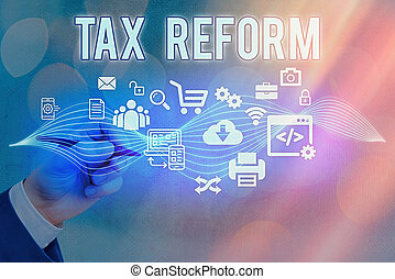 Text sign showing Tax Reform. Conceptual photo government policy about the collection of taxes with business owners Information digital technology network connection infographic elements icon.