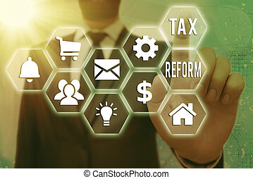 Text sign showing Tax Reform. Conceptual photo government policy about the collection of taxes with business owners Grids and different set up of the icons latest digital technology concept.