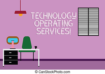 Text sign showing Technology Operating Services. Conceptual photo Offer specialized technologyoriented results Work Space Minimalist Interior Computer and Study Area Inside a Room photo.