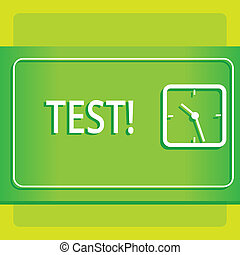 Text sign showing Test. Conceptual photo Academic systemic procedure assess reliability durability proficiency Modern Design of Transparent Square Analog Clock on Two Tone Pastel Backdrop.
