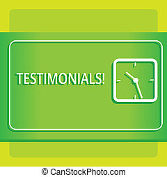 Text sign showing Testimonials. Conceptual photo Customers formal endorsement statement experience of someone Modern Design of Transparent Square Analog Clock on Two Tone Pastel Backdrop.