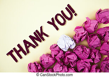 Text sign showing Thank You Motivational Call. Conceptual photo Appreciation greeting Acknowledgment Gratitude written on Plain background Crumpled Paper Balls next to it.