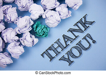 Text sign showing Thank You Motivational Call. Conceptual photo Appreciation greeting Acknowledgment Gratitude written on the Plain Blue background Paper Balls next to it.