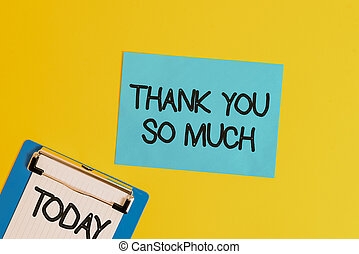 Text sign showing Thank You So Much. Conceptual photo Expression of Gratitude Greetings of Appreciation Metal clipboard holding blank paper sheet square page colored background.