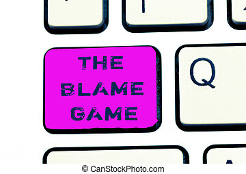 Text sign showing The Blame Game. Conceptual photo A...