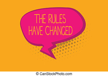Text sign showing The Rules Have Changed. Conceptual photo the agreement or Policy has a new set of commands