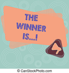 Text sign showing The Winner Is . Conceptual photo Announcing who won a contest Victory on a competition Megaphone Inside Triangle and Blank Color Rectangle for Announcement.