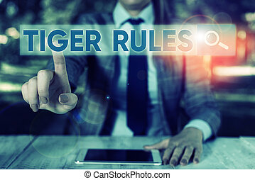 Text sign showing Tiger Rules. Conceptual photo Willpower ...