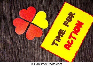 Text sign showing Time For Action. Business concept for Success Goal Fulfilment Deadline written on Sticky Note Paper with Love Heart Next to it on the wooden background