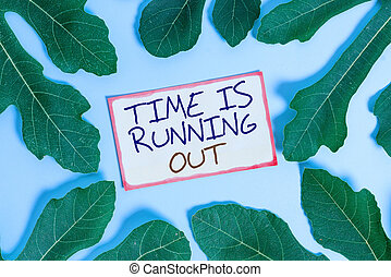 Text sign showing Time Is Running Out. Conceptual photo Deadline is approaching Urgency things cannot wait Leaves surrounding notepaper above an empty soft pastel table as background.