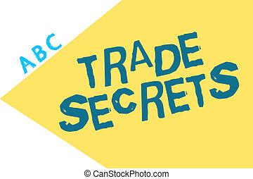 Text sign showing Trade Secrets. Conceptual photo Technique ...