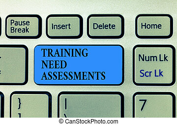 Text sign showing Training Need Assessments. Conceptual photo determine the exercise required to fill the Gap