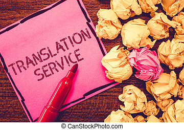 Text sign showing Translation Service. Conceptual photo the...
