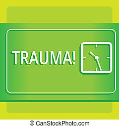 Text sign showing Trauma. Conceptual photo Disturbing physical and emotional injuries shock experience Modern Design of Transparent Square Analog Clock on Two Tone Pastel Backdrop.