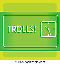 Text sign showing Trolls. Conceptual photo Online troublemakers posting provocative inflammatory messages Modern Design of Transparent Square Analog Clock on Two Tone Pastel Backdrop.