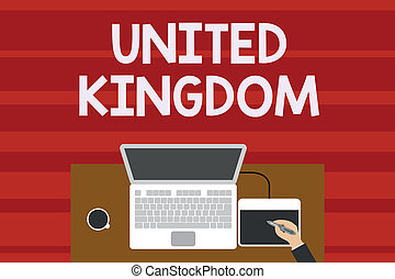 Text sign showing United Kingdom. Conceptual photo Island country located off the northwestern coast of Europe Upper view laptop wooden desk worker drawing tablet coffee cup office.