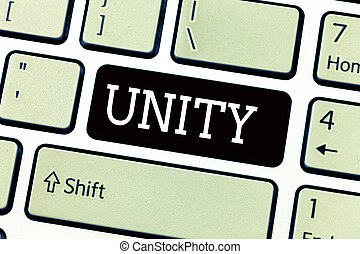 Text sign showing Unity. Conceptual photo state of being united or joined as whole becoming one person