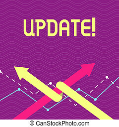 Text sign showing UPDATE. Conceptual photo make something more modern or up to date like software program Two Arrows where One is Intertwined to the other as Team Up or Competition.
