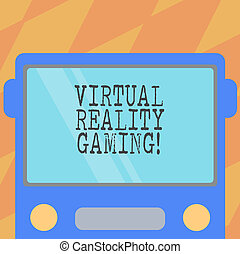 Text sign showing Virtual Reality Gaming. Conceptual photo application of virtual environment to computer games Drawn Flat Front View of Bus with Blank Color Window Shield Reflecting.