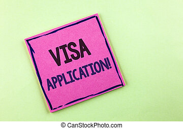 Text sign showing Visa Application Motivational Call. Conceptual photo sheet to provide your basic information written on Pink Sticky Note Paper on the plain background.