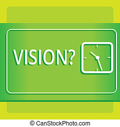 Text sign showing Visionquestion. Conceptual photo Company commitment describing future realistic state Modern Design of Transparent Square Analog Clock on Two Tone Pastel Backdrop.