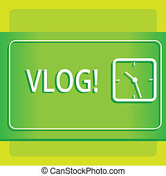 Text sign showing Vlog. Conceptual photo Entertaining multimedia self broadcasting news reporting stories Modern Design of Transparent Square Analog Clock on Two Tone Pastel Backdrop.
