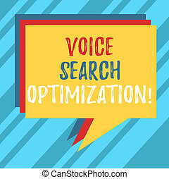 Text sign showing Voice Search Optimization. Conceptual photo enhance web searching through spoken comanalysisds Stack of Speech Bubble Different Color Blank Colorful Piled Text Balloon.