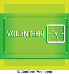 Text sign showing Volunteer. Conceptual photo Volunteering individual for greater social cause serving others Modern Design of Transparent Square Analog Clock on Two Tone Pastel Backdrop.
