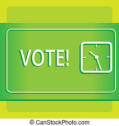 Text sign showing Vote. Conceptual photo Formalized decision on important matters electing Modern Design of Transparent Square Analog Clock on Two Tone Pastel Backdrop.