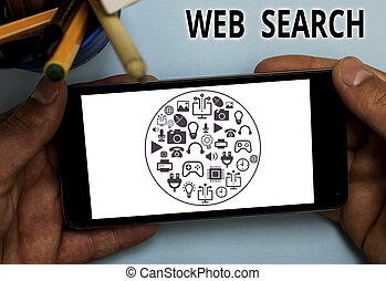 Text sign showing Web Search. Conceptual photo software system designed to search for information on the web.