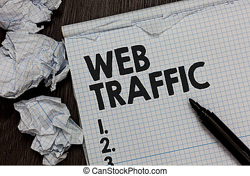 Text sign showing Web Traffic. Conceptual photo Amount of data sent and received by visitors to a website Marker over notebook crumpled papers ripped pages several tries mistakes.