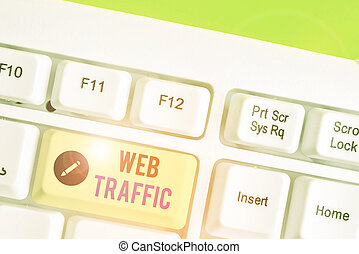 Text sign showing Web Traffic. Conceptual photo the amount of data sent and received by visitors to a website.
