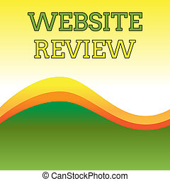 Text sign showing Website Review. Conceptual photo Reviews that can be posted about businesses and services Wavy Abstract Design Three Tone Background with Two Curvy Lines in Center.