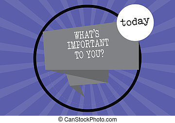 Text sign showing What S Is Important To Youquestion. Conceptual photo Tell us your priorities goals objectives Folded 3D Ribbon Strip inside Circle Loop on Halftone Sunburst photo.