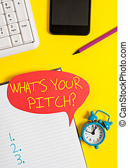 Text sign showing What S Is Your Pitch question. Conceptual photo asking about property of sound or music tone Empty red bubble paper on the table with pc keyboard.