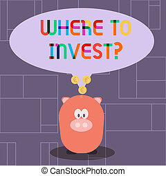 Text sign showing Where To Invest question. Conceptual photo asking about actions or process of making more money Color Speech Bubble with Gold Euro Coins on its Tail Pointing to Piggy Bank.