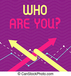 Text sign showing Who Are You Question. Conceptual photo asking about its identity or demonstratingal information Two Arrows where One is Intertwined to the other as Team Up or Competition.