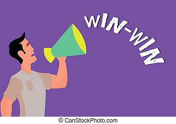 Text sign showing Win Win. Conceptual photo Strategy for both parts obtain benefits Negotiation Agreement