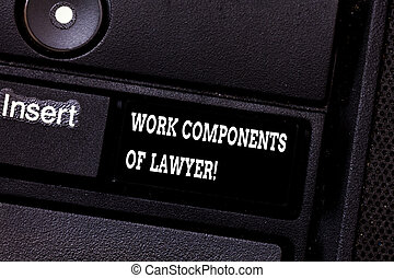 Text sign showing Work Components Of Lawyer. Conceptual...