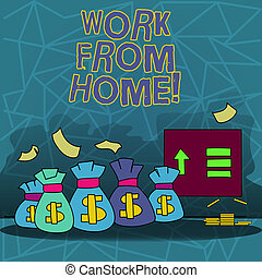 Text sign showing Work From Home. Conceptual photo Freelance job working on your house convenient technology.