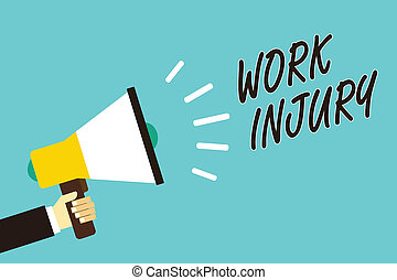 Text sign showing Work Injury. Conceptual photo Accident in job Danger Unsecure conditions Hurt Trauma Man holding megaphone loudspeaker blue background message speaking loud.
