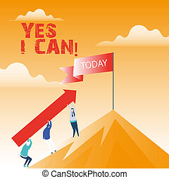 Text sign showing Yes I Can. Conceptual photo Motivation to do something have the enough strength to keep going.