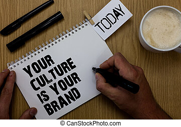 Text sign showing Your Culture Is Your Brand. Conceptual photo Knowledge Experiences are a presentation card Paperclip retain written notepad hand hold marker coffee black pen on woody desk