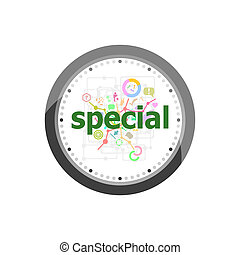 Text Special on digital background. Education concept . Set of modern flat design concept icons for internet marketing. Watch clock isolated on white background