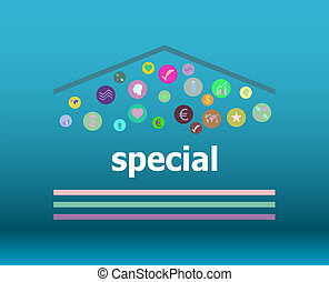 Text Special on digital background. Education concept