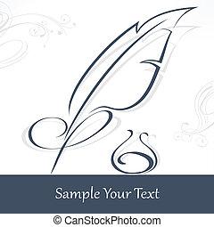 text, stift, feder