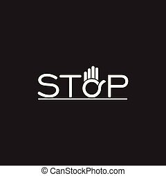 text stop hand palm symbol decoration vector