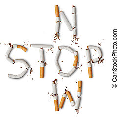 broken cigarettes - Text ''stop now'' made from broken ...